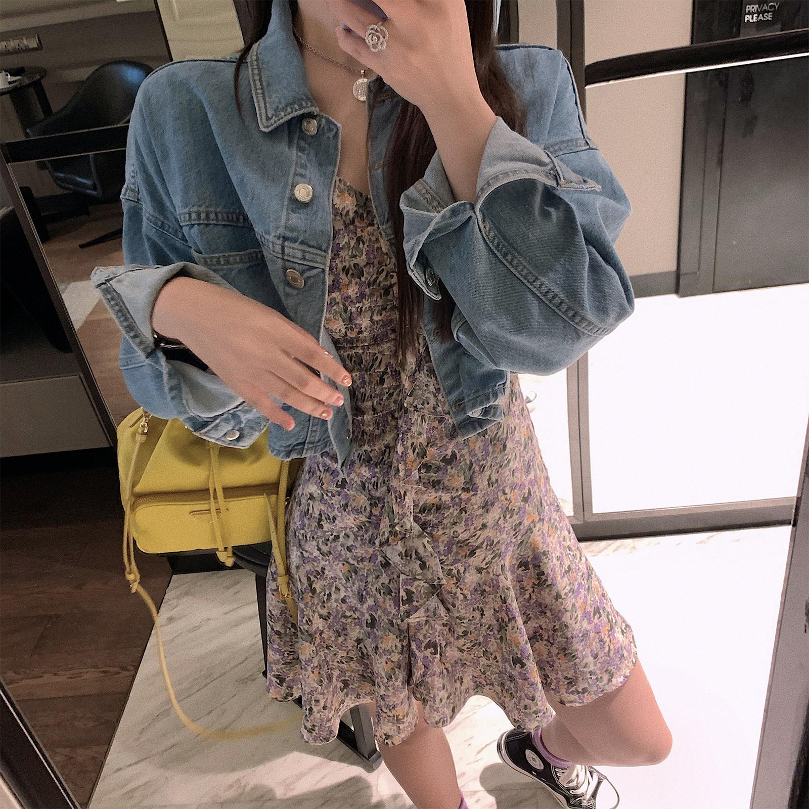 林珊珊 春季新款网红短款牛仔外套女超火cec宽松显瘦bf复古潮上衣