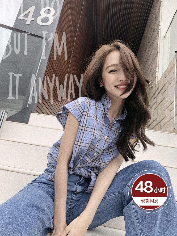 网红宽松bf流行时尚简约上衣无袖格子衬衫