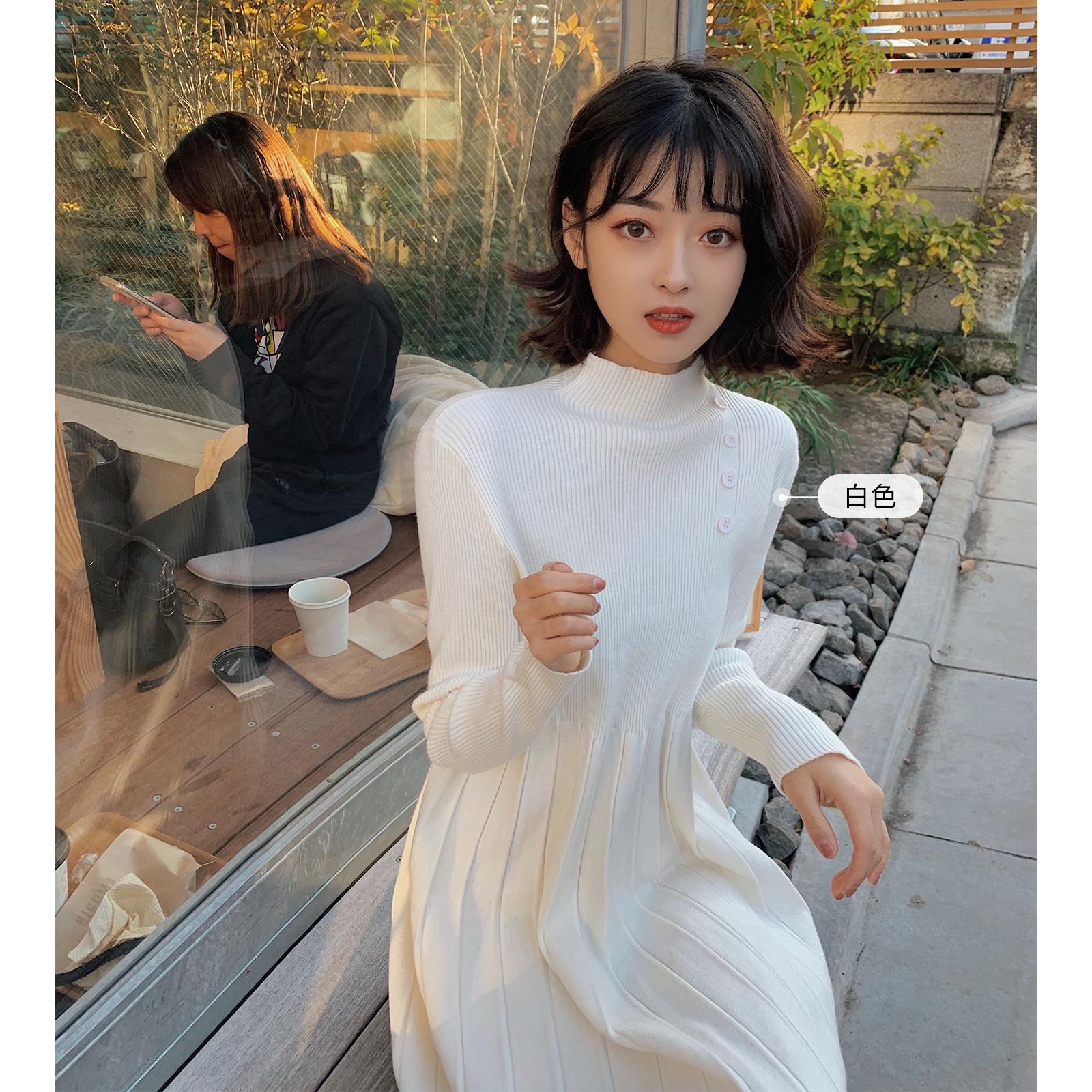 林珊珊侧边扣子针织连衣裙女秋冬内搭淑女小个子新款裙子2020流行