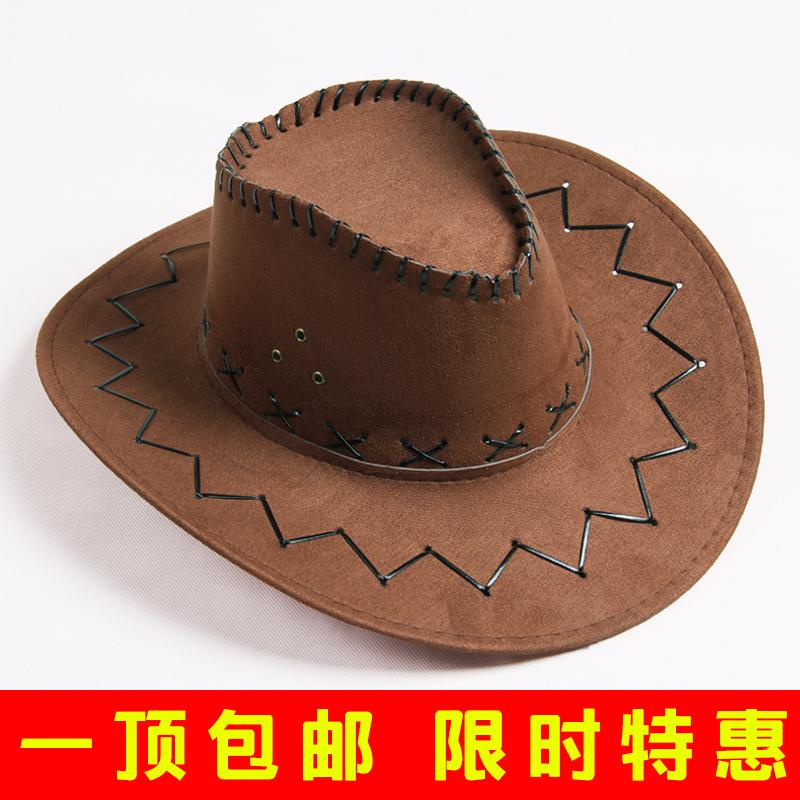 美國西部牛仔帽 男女通用騎士大沿帽 沙灘遮陽帽子女韓版潮帽包郵