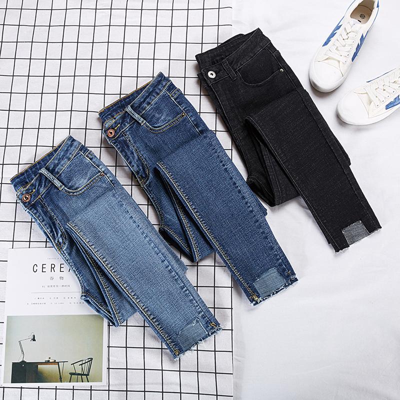 实拍紧身高腰黑色牛仔裤女2019春季新款chic显瘦不规则小脚九分裤