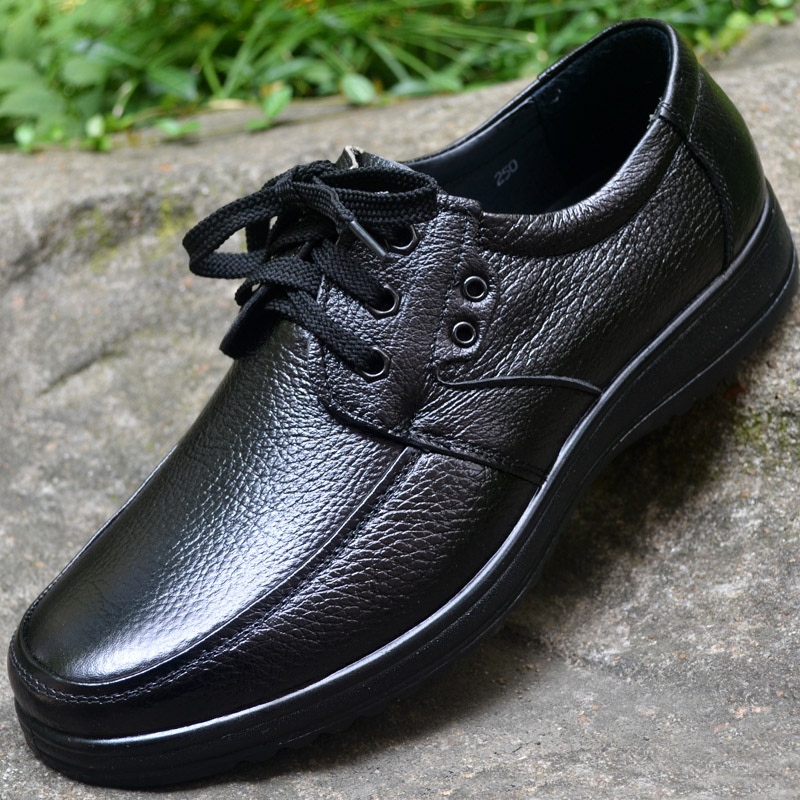 Mens daily business casual shoes leather soft sole wear resistant mens single shoes round head anti slip lace up big head working shoes mens shoes