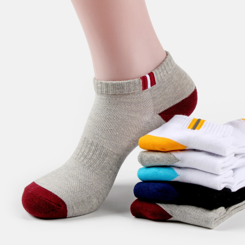 Buy 5 free 5 spring and summer thin mens socks pure cotton short tube socks cotton socks sweat absorption shallow mouth low top breathable boat socks