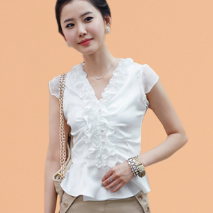 2015 Korean summer Puff wood ear sleeveless V neck lace blouse chiffon shirt casual shirt shirt