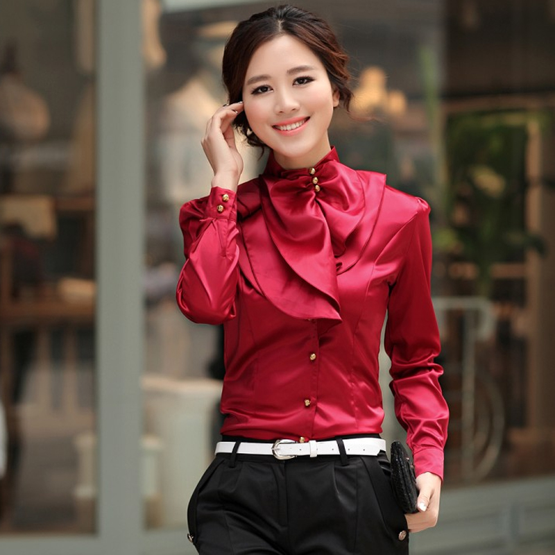 Autumn dress Korean stand collar business slim blouse court casual Ruffle solid color long sleeve blouse