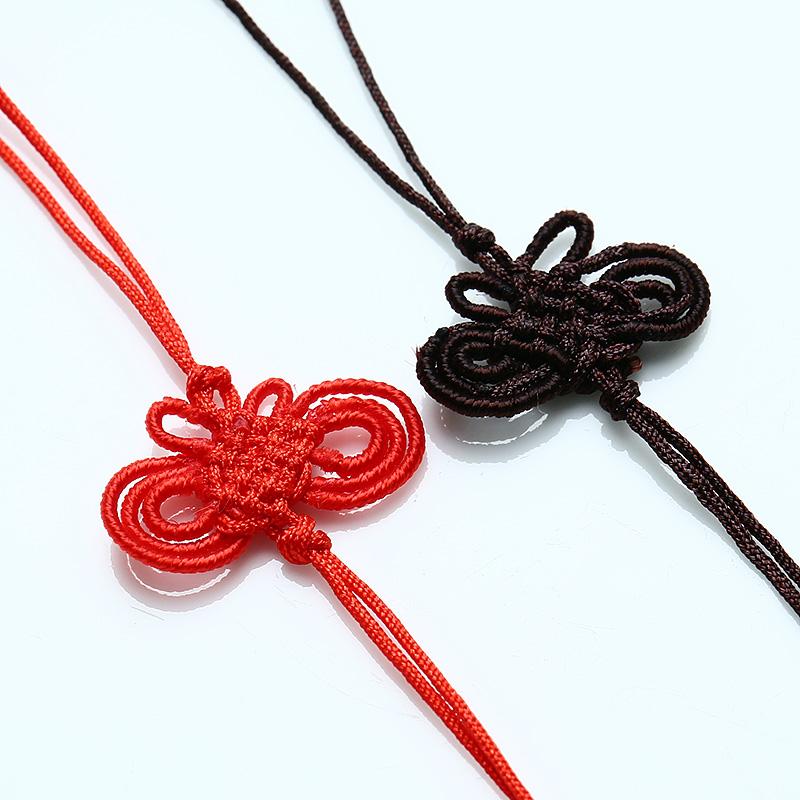 DIY饰品手机绳挂链 手工编织中国结挂绳配件咖啡色红色-小刘翡翠
