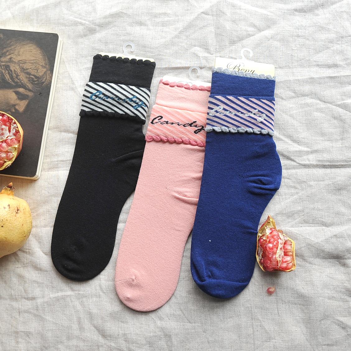 10双包邮日本beny纯色字母纯棉女袜