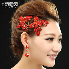 Purple Fairy bride Crown hair ornament red bow with gold headdresses fashion one-piece capitatum-