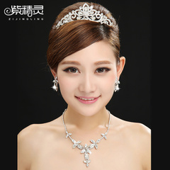 Violet fairy flowers rhinestone Crown wedding Bridal jewelry Korean style necklace jewelry three piece suit wedding accessories