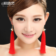 Purple Elf 2013 new vintage fringed Red Chinese bride beautiful earring accessories long-
