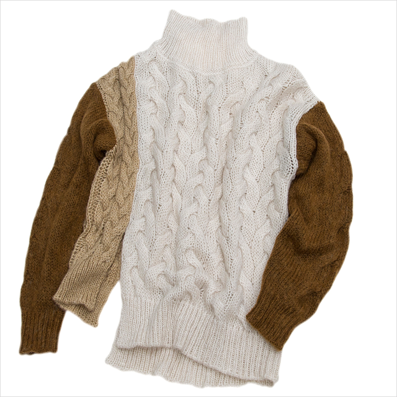 21 spring womens new color contrast mohair wool blended hem split high collar long sleeve sweater twist knitted shirt