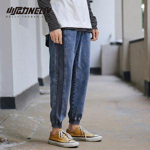 韩国bf秋季牛仔裤男士直筒韩版潮流港风九分薄款修身宽松小脚裤子
