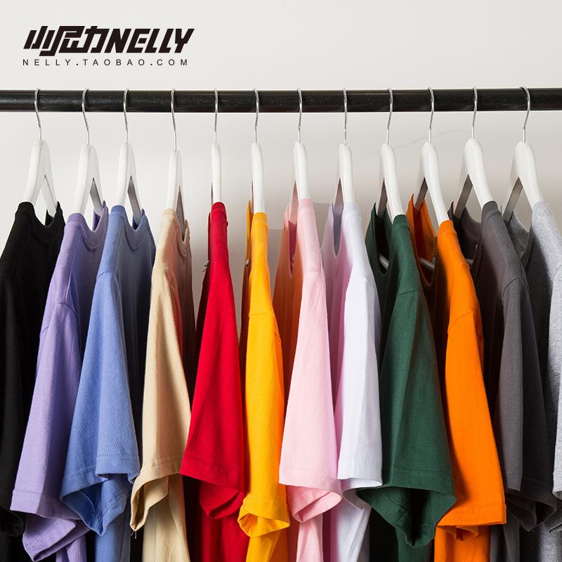 短袖T恤男女宽松大码纯色白色黑体恤100%纯棉半袖打底衫圆领上衣