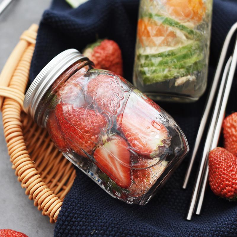 梅森瓶罐子家用帶蓋玻璃水杯密封罐玻璃儲物罐帶吸管果汁飲料杯