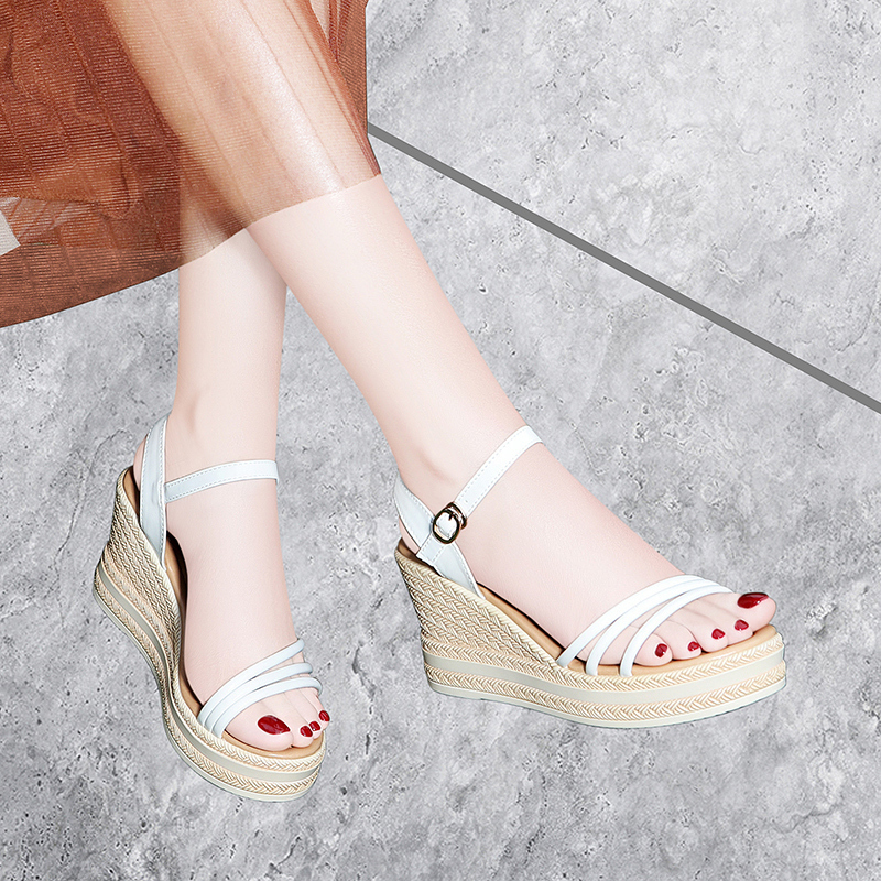 Taiwan Red Dragonfly Enterprise Co., Ltd. Rd slope heel sandals womens thick bottom summer muffin Bohemia matching skirt