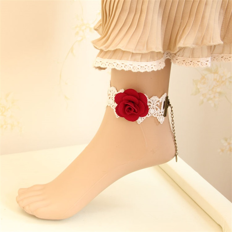 White Lolita queen lace summer rose Anklet foreign trade personalized handmade foot ring jewelry la-13