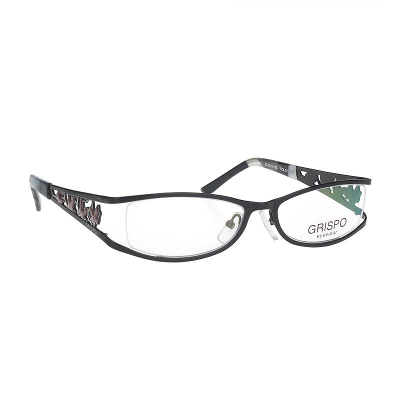 Grispo womens fashion glasses metal full frame wide leg lace middle age decorative myopia frame 7041