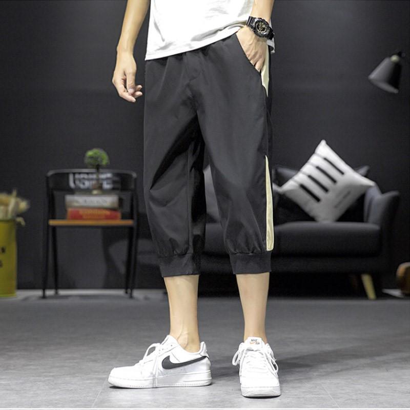 Trendy shorts mens summer ice silk simple stripe Capris trend versatile casual sports thin Leggings