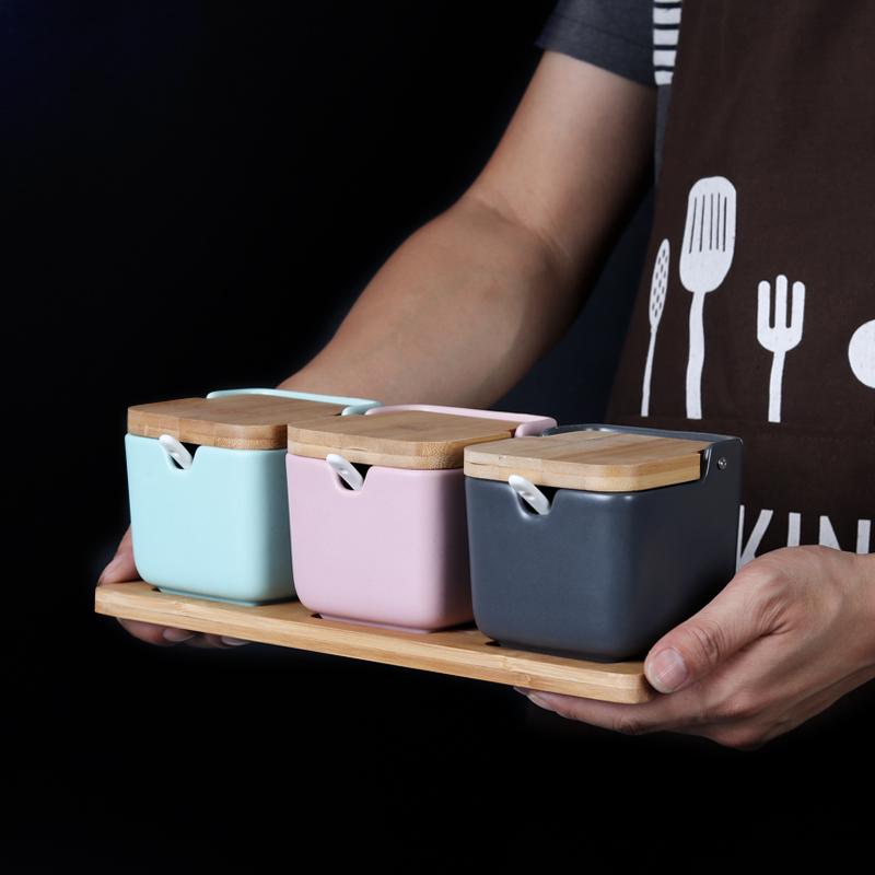 创意日式翻盖调味罐 北欧翻盖调味盒三件套 厨房调料罐盐糖胡椒罐19.80元包邮