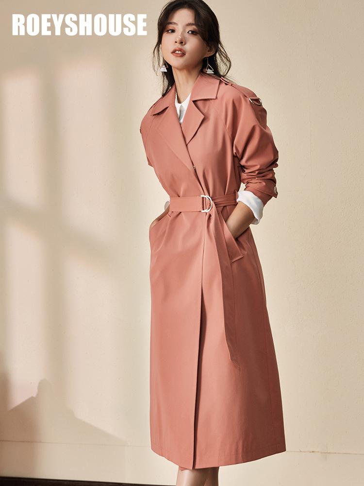 罗衣原创风衣女2018秋装新款气质豆沙红修身系带OL中长款外套5405