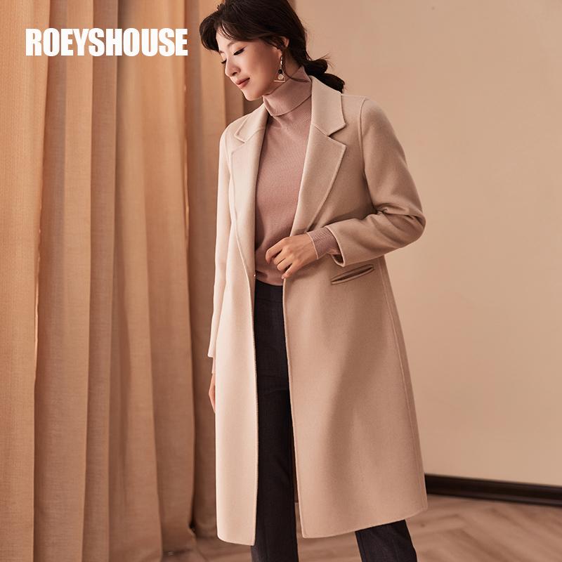 罗衣100%澳洲羊毛双面绒毛呢大衣2018秋冬新款米色中长款外套3280