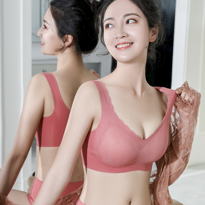 Thailand latex underwear womens traceless, rimless, lace, vest style, non sponge, gathering, non dairy thin bra