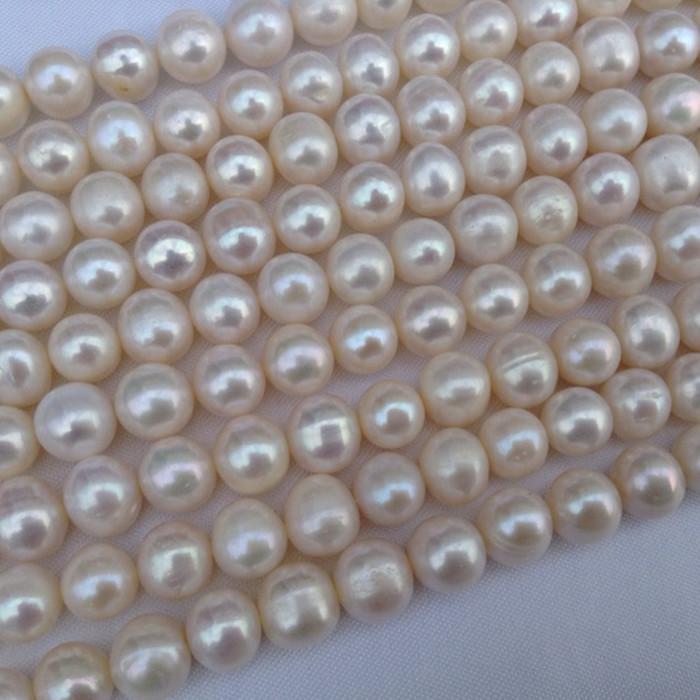 天然淡水珍珠散珠 近圆9-10MM珍珠项链半成品 淡水珍珠近圆强光