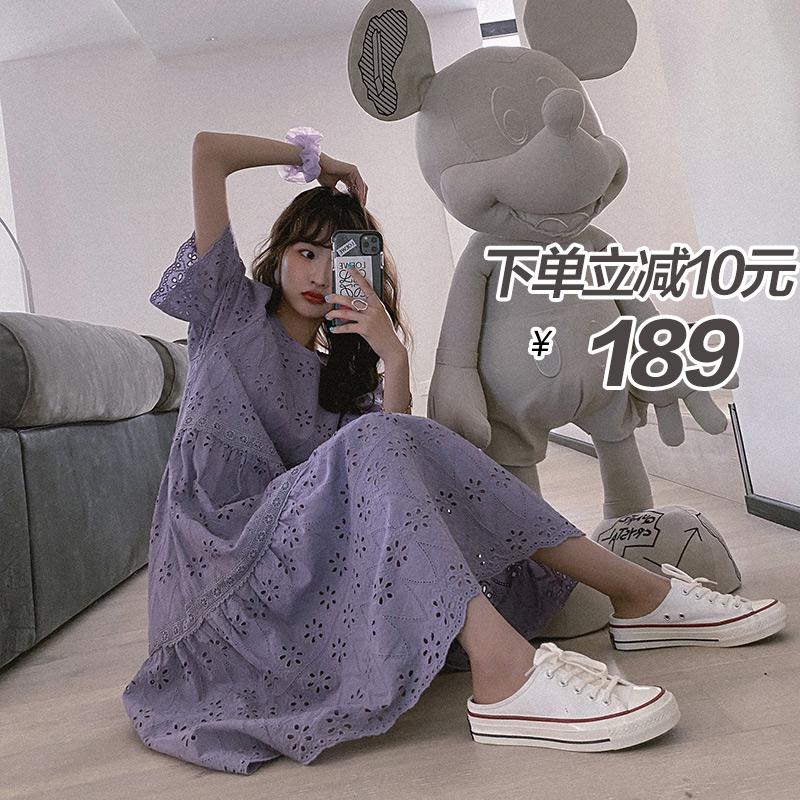 法式甜美泡泡袖紫色连衣裙女夏2020新款中长显瘦宽松韩版桔梗裙子图片