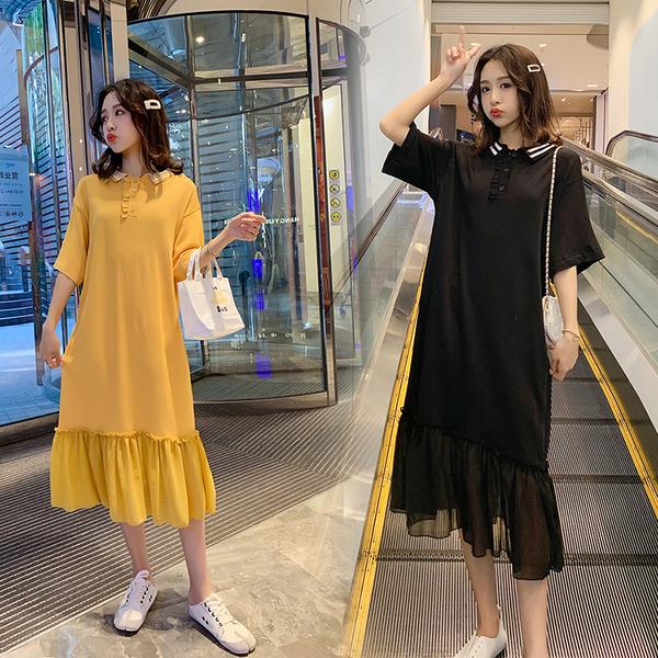 TS4078#时尚孕妇装 韩版宽松针织拼接连衣裙