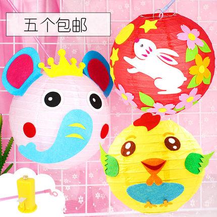 小猪新年卡通手提灯笼幼儿园手工制作DIY材料包儿童创意发光玩具