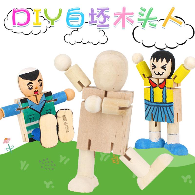 百�木�|�C器人 白坯木制DIY木�^人 木偶�和��L��涂色涂�f玩具