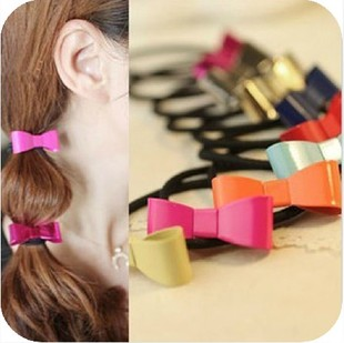 European style fluorescent color candy colored bow hair ring hair rope Tousheng cute F10