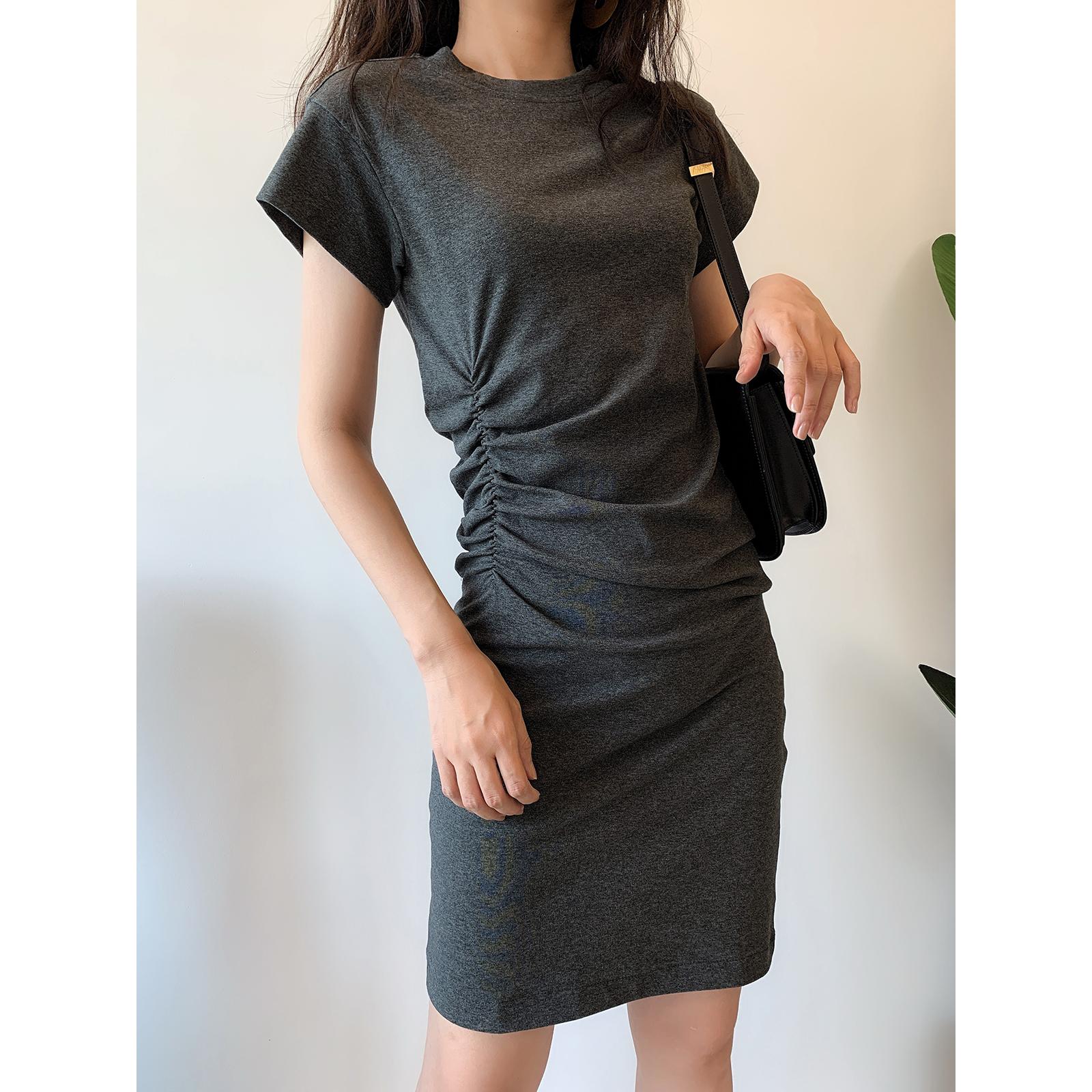 AYUGONA 春夏新款 别致时髦灰色Chic褶皱收腰棉质T恤裙显瘦连衣裙