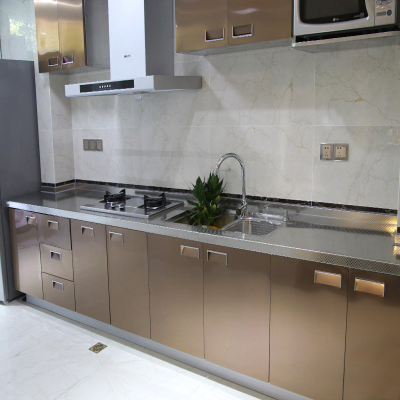 All stainless steel cabinet customized whole 304 customized table top kitchen stove table top integrated household kitchen cabinet economic type