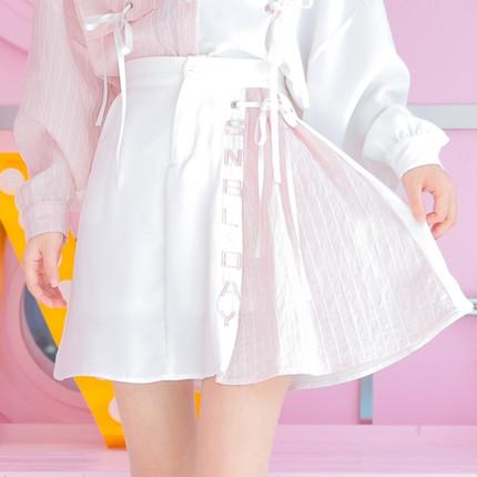 原创森女部落甜美半身裙高腰a字裙百褶裙2019春装新款女裙森女系