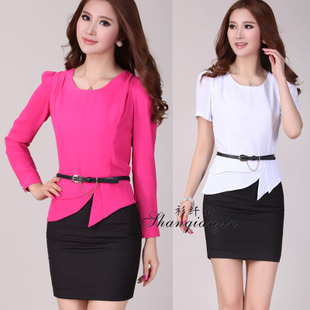 Shirts fiber gold spring and summer OL career skirt suits ladies skirt interview long / short-sleeved skirt suit women