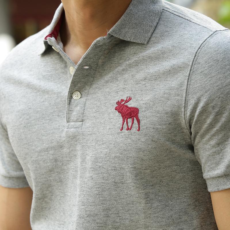 美国abercrombie fitch af大小鹿标修身短袖t恤polo衫男 195408