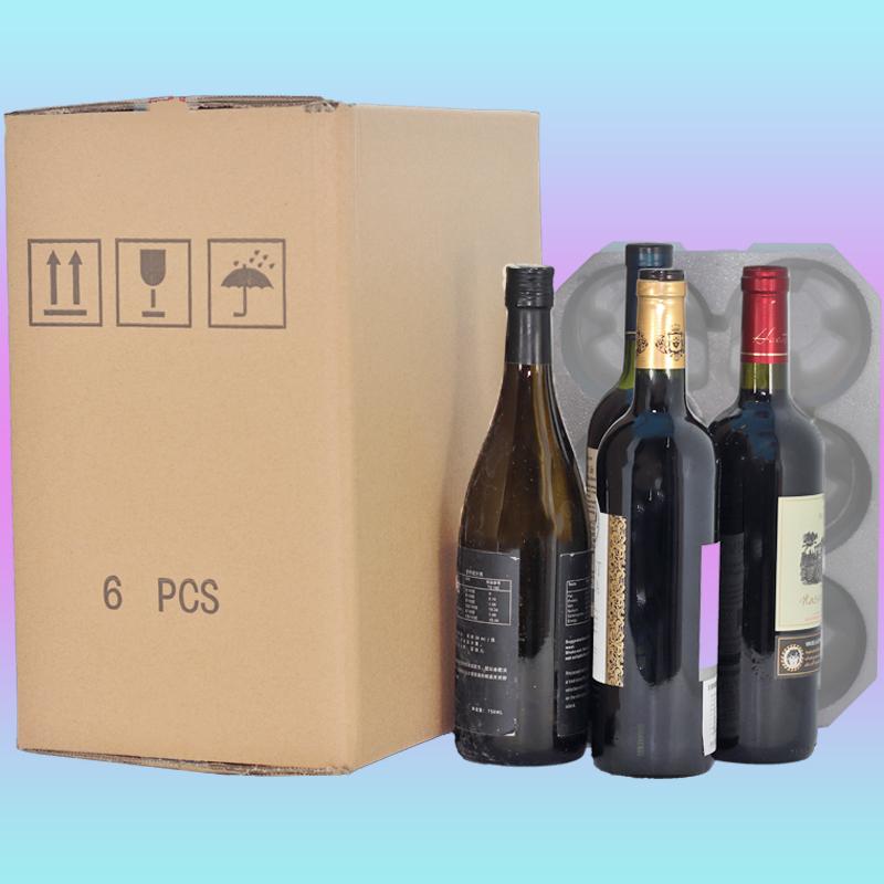 6支红酒葡萄酒波尔多8厘米标准750毫升红酒快递泡沫箱送纸箱