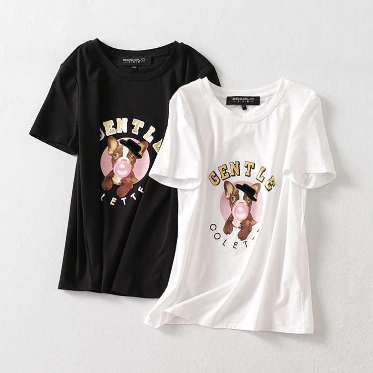 波斯帼女装 圆领套头字母卡通软萌狗T恤衫 弹力宽松百搭纯色上衣