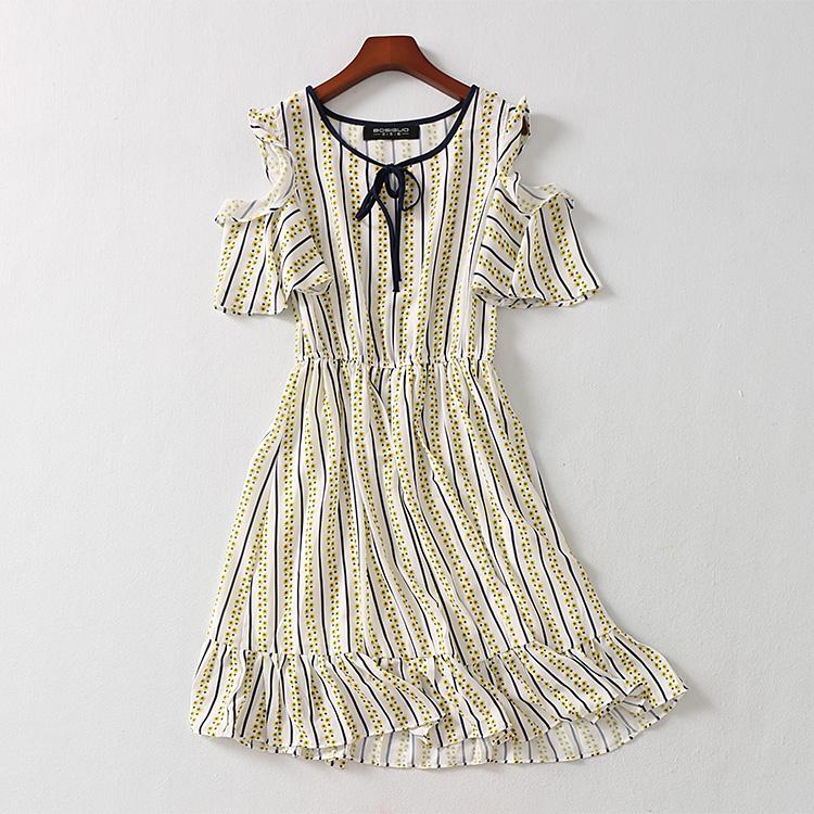 波斯帼女装 雪纺露肩袖圆领连衣裙 宽松系带竖条纹彩色波点中长裙