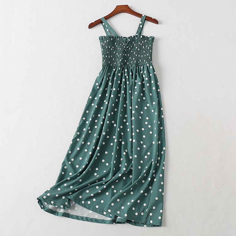 波斯帼女装 夏高腰松紧裹胸吊带露肩无袖连衣裙 雪纺绿波点中长裙