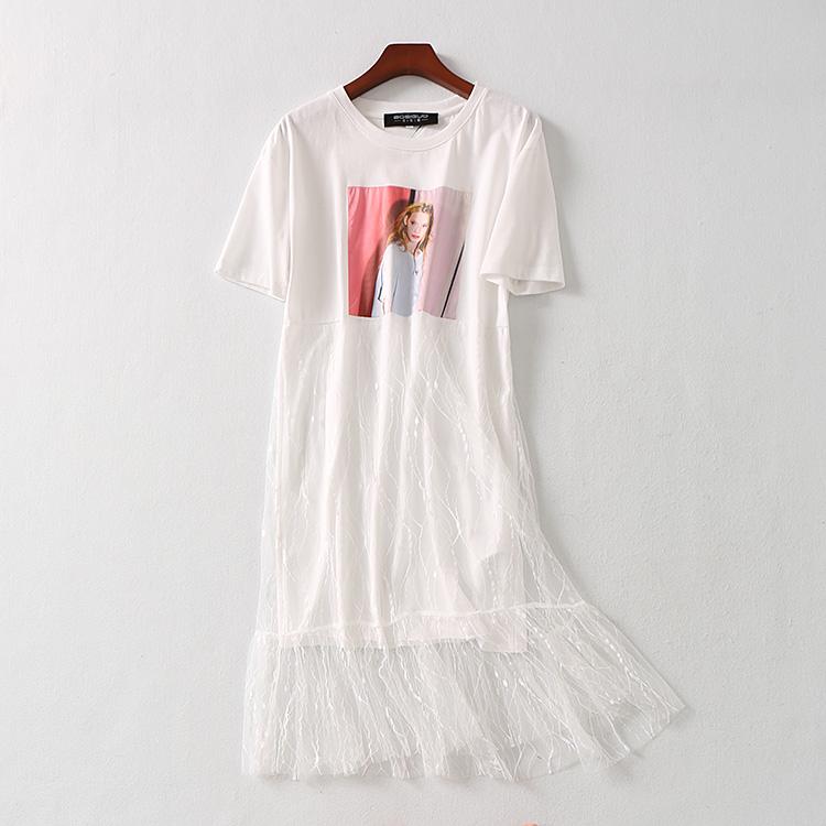 波斯帼女装 醉新款纯白T恤美女贴布连衣裙网纱蕾丝宽松落肩中长裙