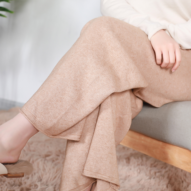 New knitted straight pants lace up high waist cashmere sweater pants loose and versatile casual pants wide leg