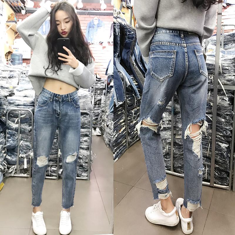 前后烂破洞牛仔裤女九分宽松显瘦bf乞丐裤韩版chic高腰直筒哈伦裤