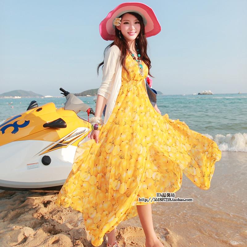 新款波西米亚沙滩裙拖地长裙海边渡假夏季超大摆雪纺连衣裙子限9000张券