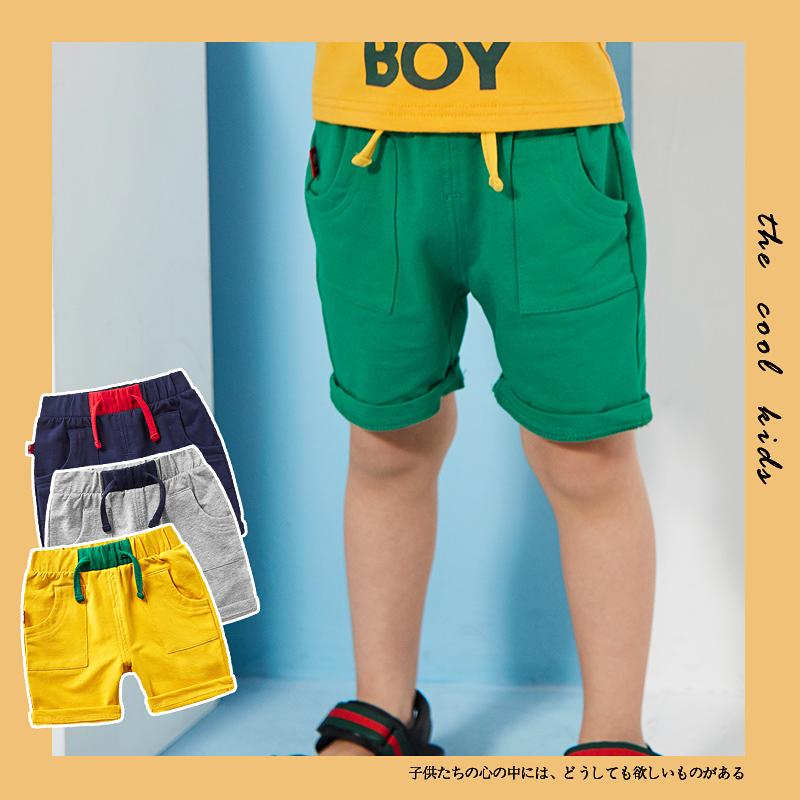 小童运动短裤黄色夏薄款男童夏季儿童男宝宝糖果色潮外穿夏装裤子包邮