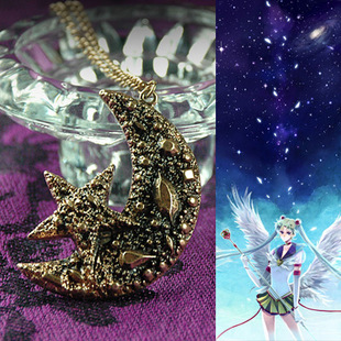 Favorites Sailor Moon Sailor Moon style necklace 1 dimensional texture of the moon and stars metal