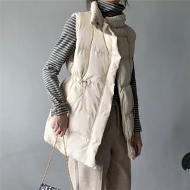 2020秋冬新款韩版中长款宽松羽绒棉马甲外套女时尚收腰马夹棉服