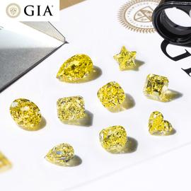 1克拉浓彩黄色钻石50分中彩黄钻裸石天然gia裸钻定制项链黄钻戒指