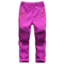 新款儿童冲锋裤防风防水运动裤加绒加厚男女童户外滑雪裤